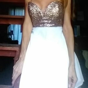 Dresses & Skirts - Small scoop gold sequins w/white dress